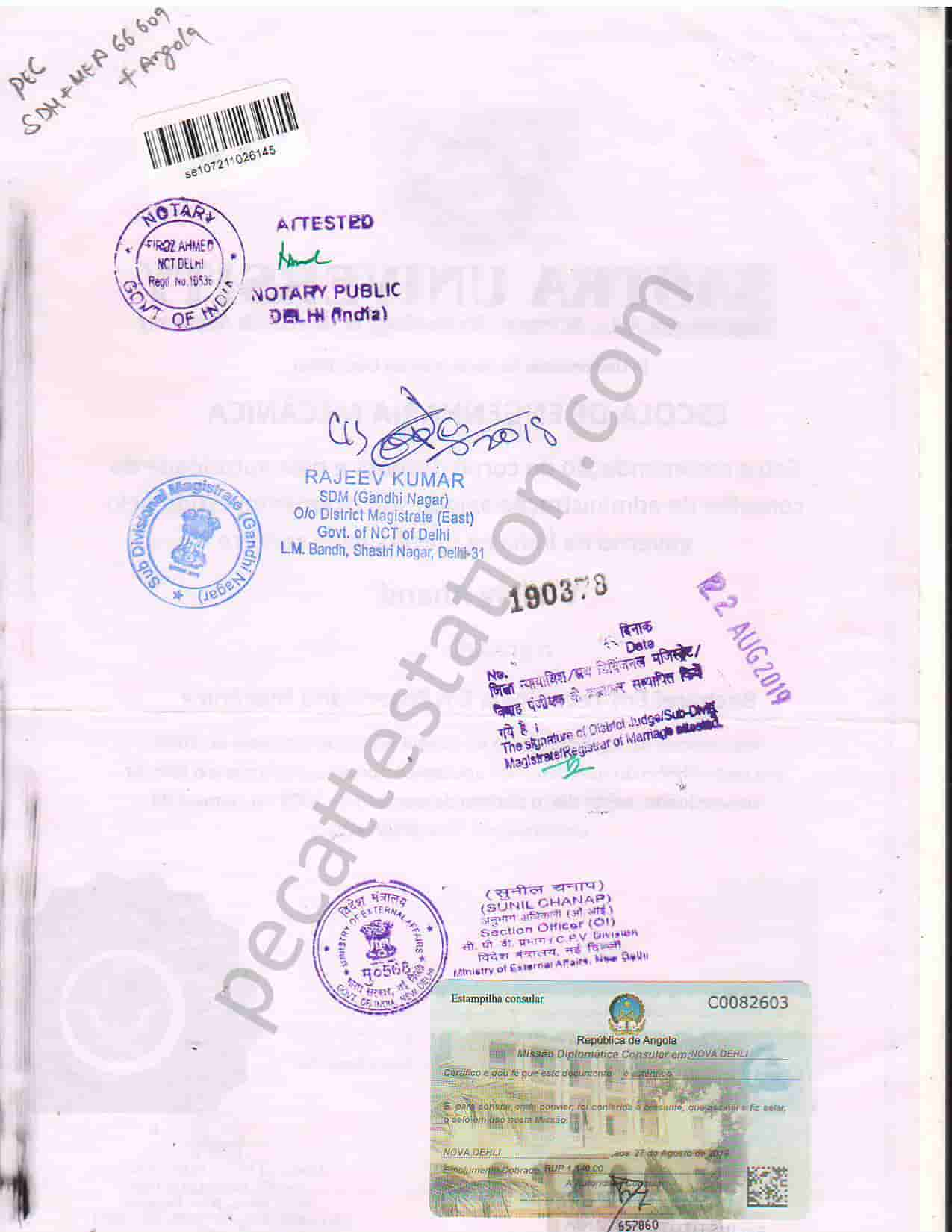Educational document attestation for angola