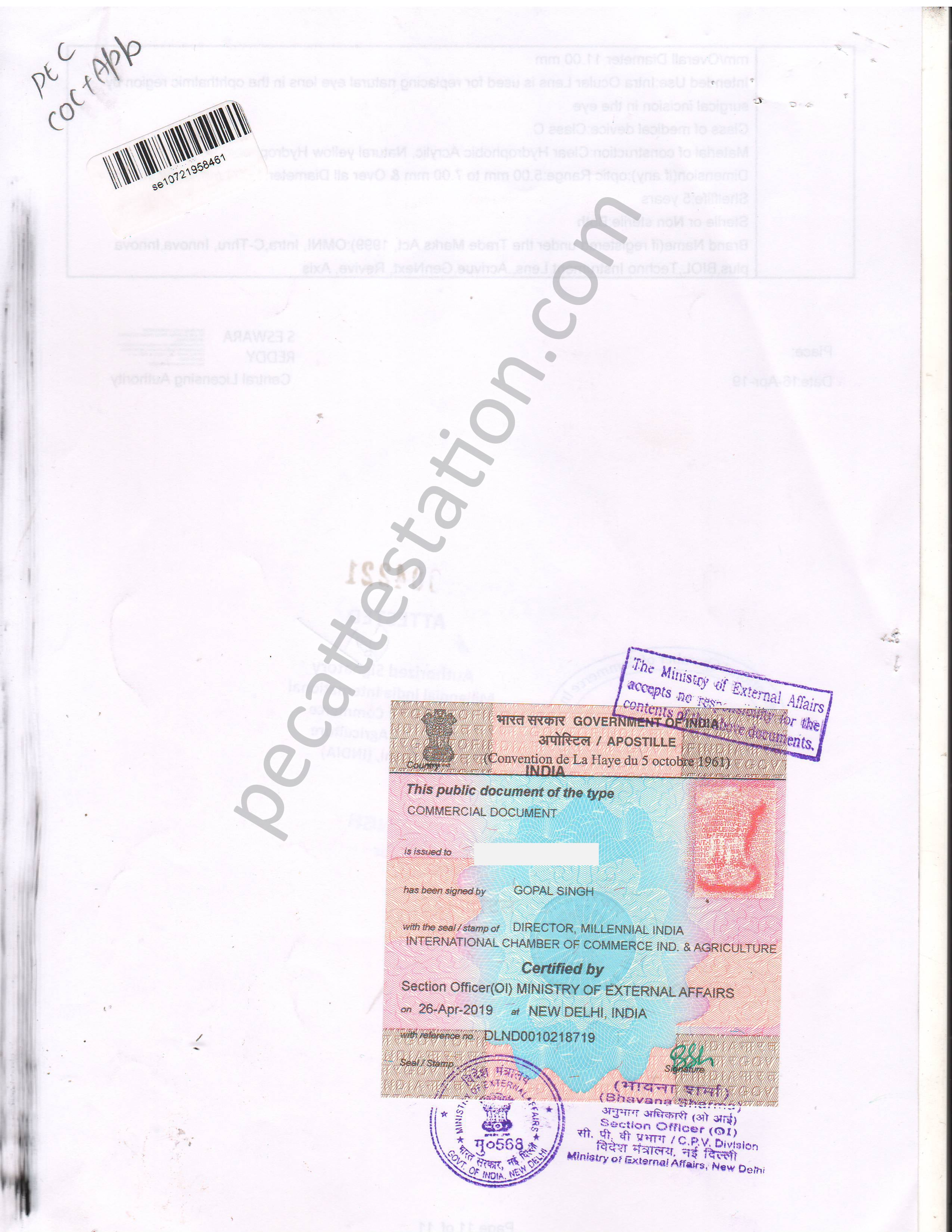 Commercial Document Apostille