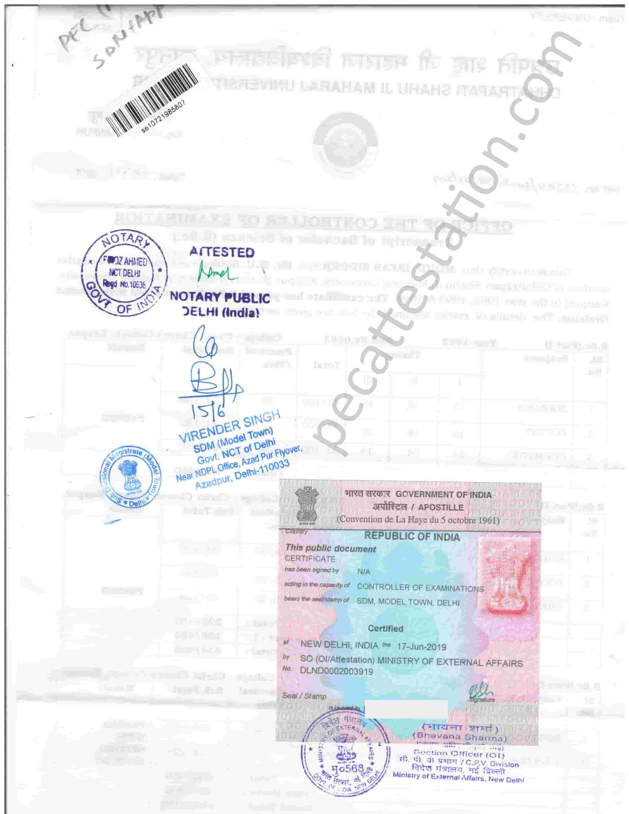 Educational Degree Certificate Apostille