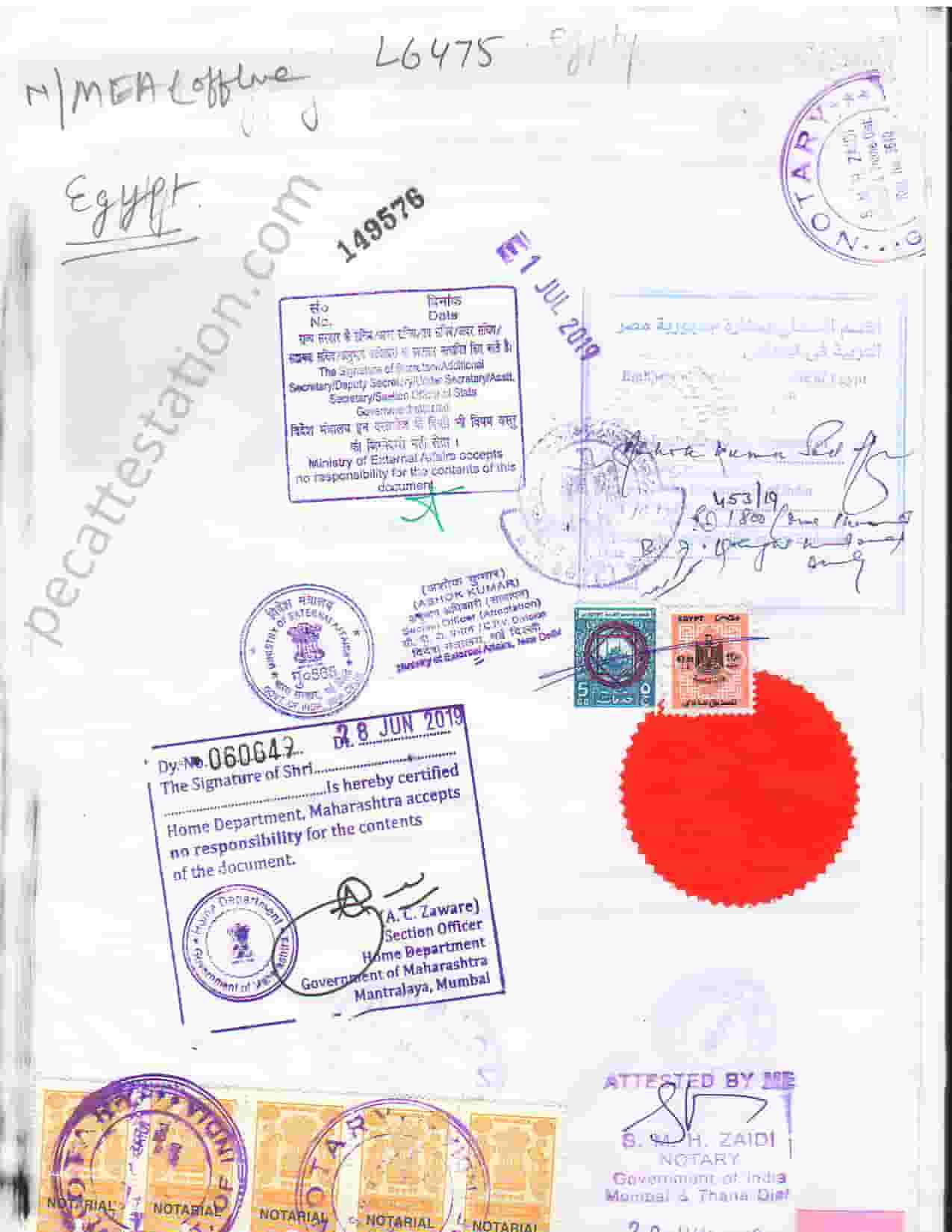 Personal document attestation for egypt