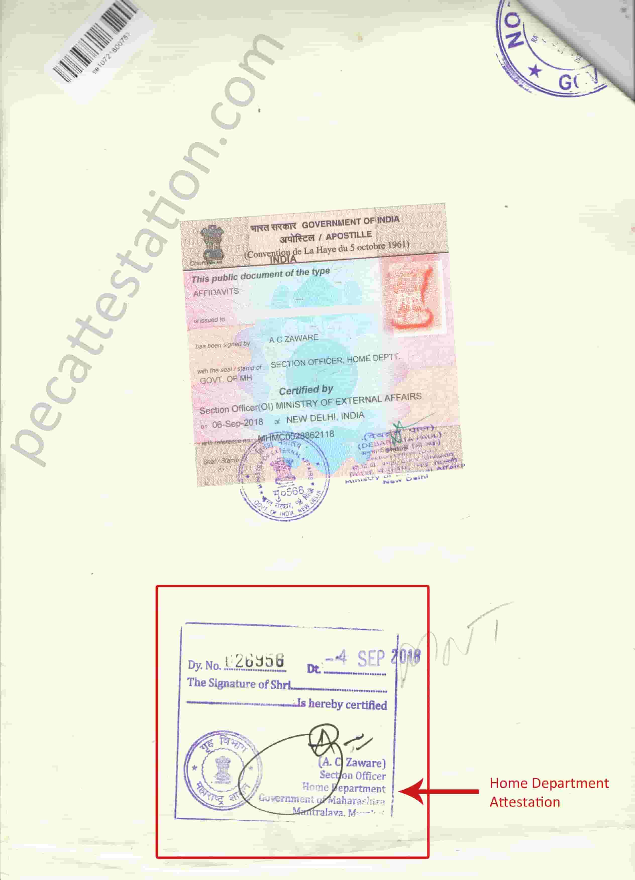 Home Department Attestation for Birth Certificate Affidavit