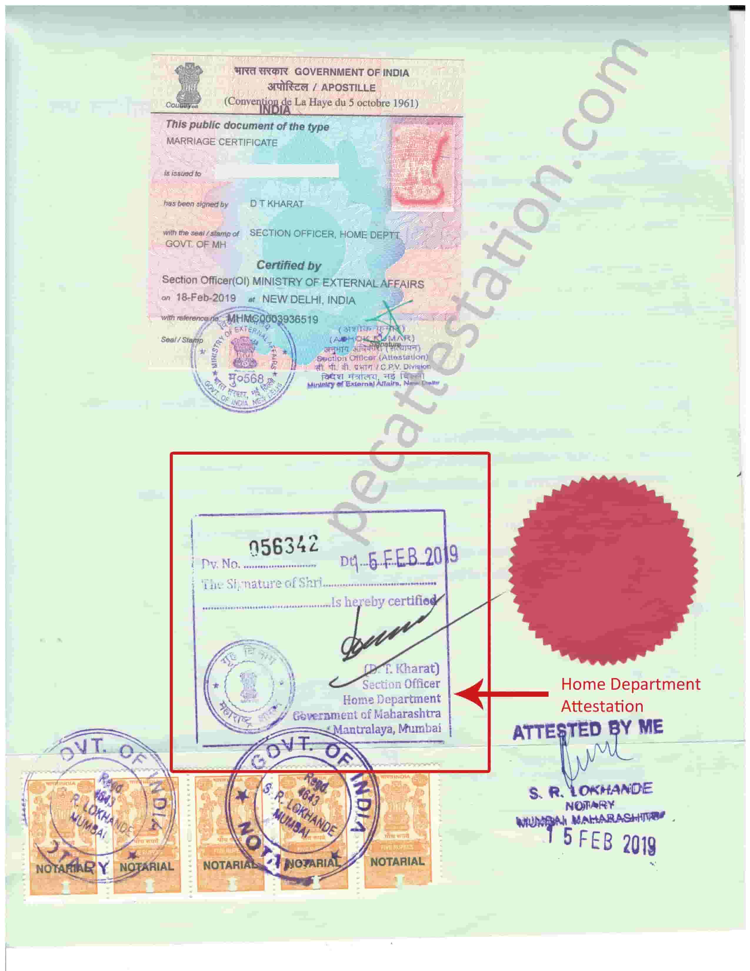 Home Department Attestation for Marriage Certificate