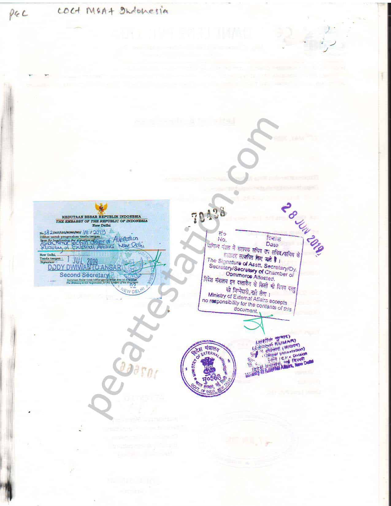 Commercial document attestation for indonesia