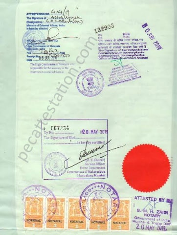 Personal document attestation for malaysia